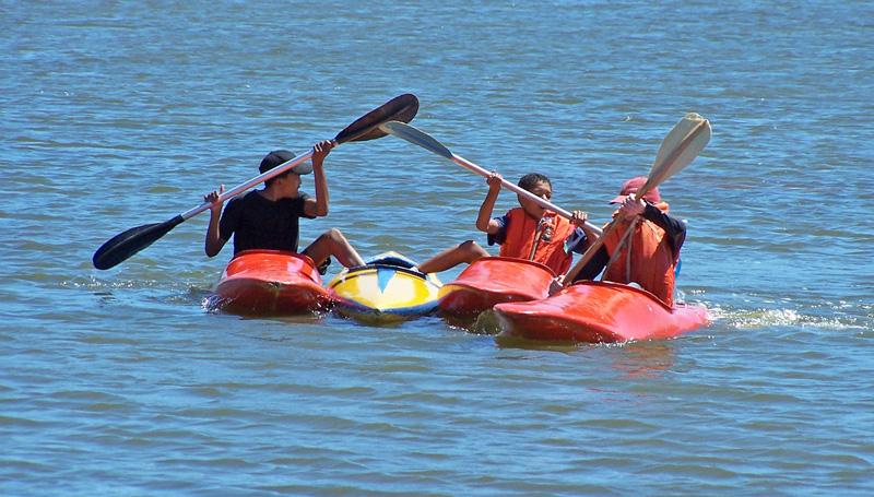 Rescuing Samantha's canoe